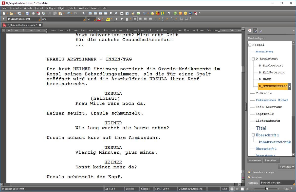 Drehbuchschreiben mit dem Textverarbeitungsprogramm ...